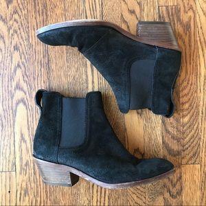 rag & bone Black Suede Booties Stacked Heel